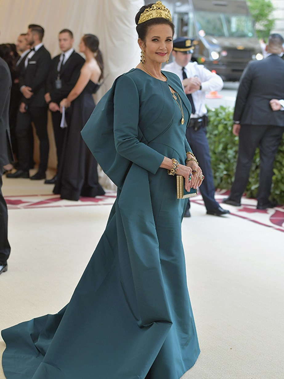 The original *Wonder Woman* Lynda Carter wows in teal and glimmering gold.