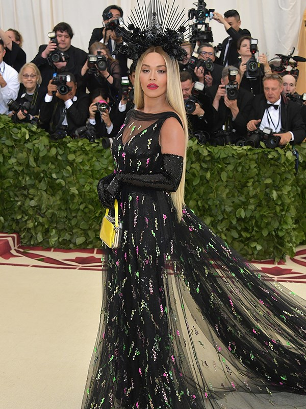 It's all about the headpiece for pop singer Rita Ora.