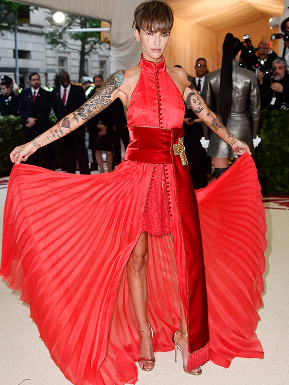 Ruby Rose rocks it in red.
