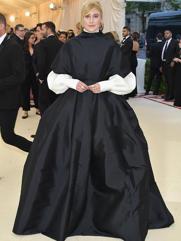"With a theme like ""Heavenly Bodies: Fashion and the Catholic Imagination"" someone had to turn up in a habit! And here she is, actress and filmmaker Greta Gerwig."