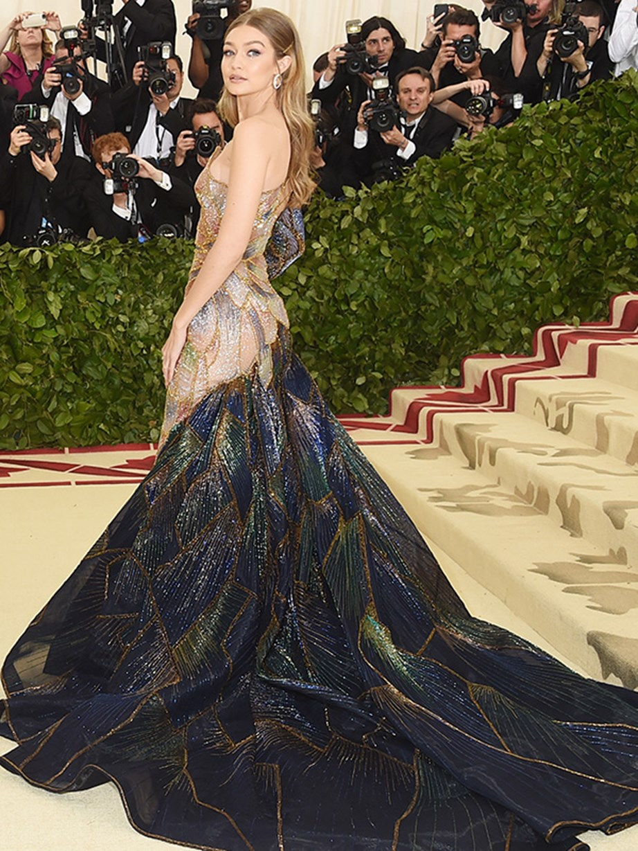 Model Gigi Hadid made an entrance in this stunning gown with fabric that resembled butterfly wings.