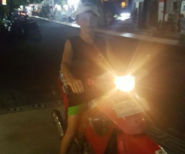 Drew on a bike in Bali - I couldn't believe what he'd done.