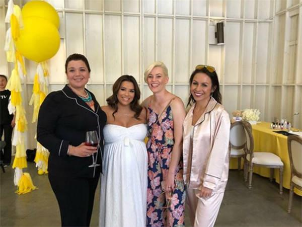 """Happy to be surrounded by these beauties! @elizabethbanks is toasting my belly and my sweet friend @marisatomei is always spreading love and light! What a special day for #BabyBaston and his mommy!"""