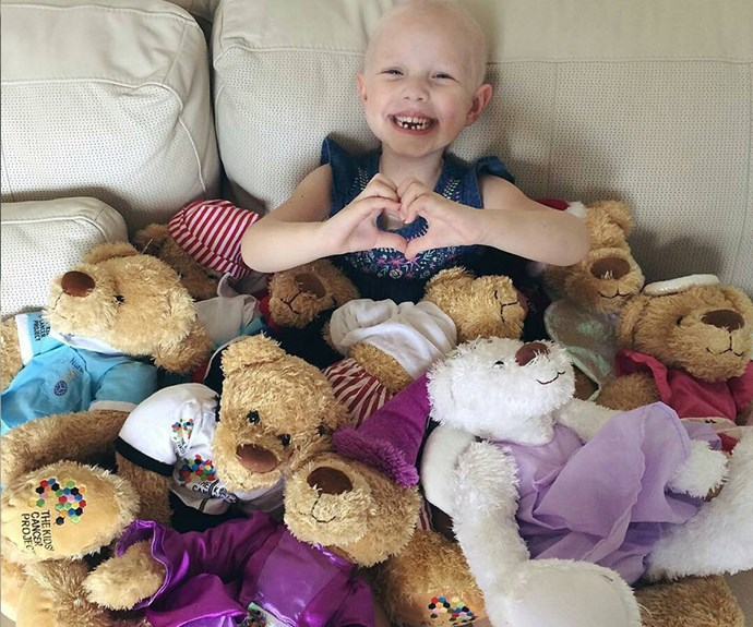 Evie Weir with her bear collection from The Kids' Cancer Project.