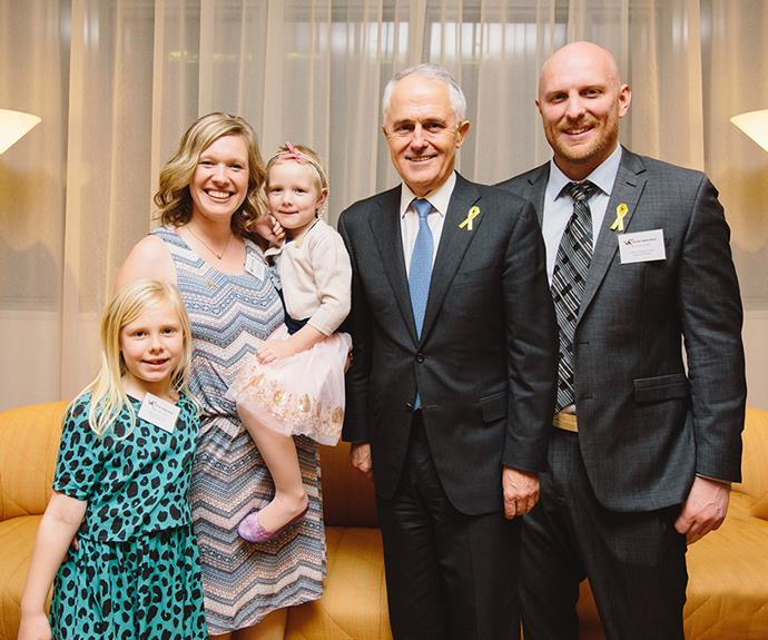 The Weir family with Prime Minister Malcolm Turnbull at Parliament House as part of Childhood Cancer Awareness Month in September 2016.
