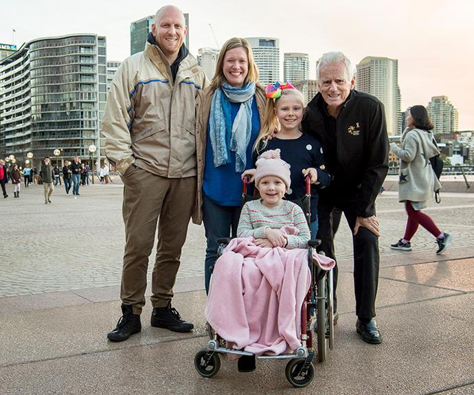 The Weir family with The Kids' Canncer Project founder, Col Reynolds.