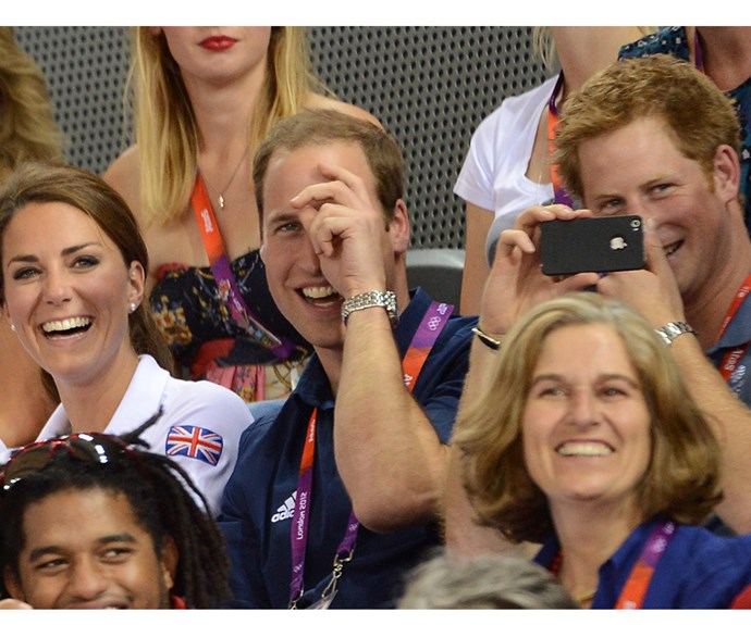 Prince William, Duchess Kate and Prince Harry attend the Men's team sprint track cycling event of London 2012 Olympic games.