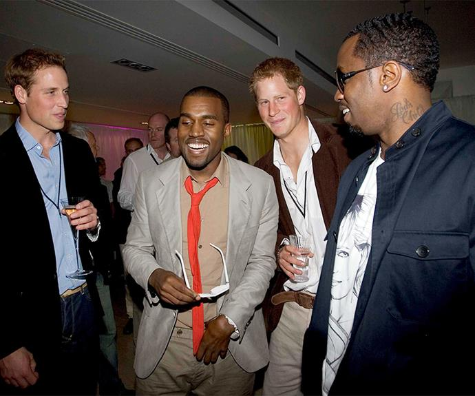The princes have a laugh with US rappers Kanye West and P Diddy backstage at the six-hour long extravaganza in memory of their late mother, 2007.
