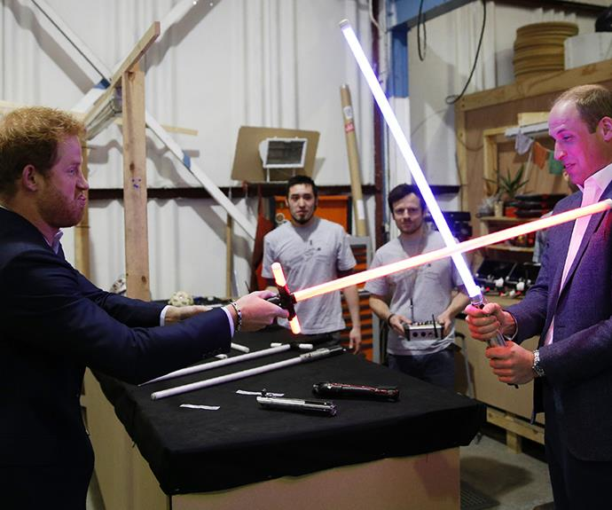 The princes duel with light sabres during a tour of the Star Wars, 2016.