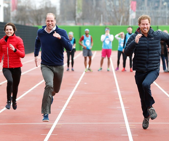 The Duchess of Cambridge, Prince William and Prince Harry take part in a relay race, during a training event to promote the charity Heads Together, at the Queen Elizabeth Olympic Park in London, 2017.