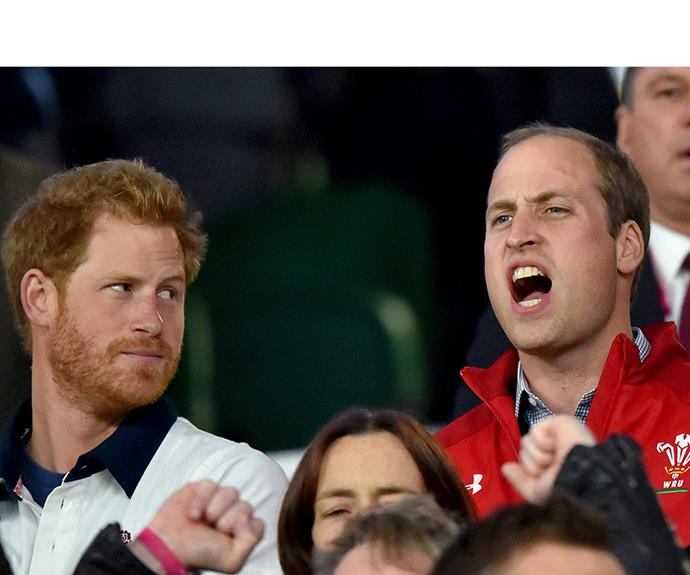 The face says it all! Prince William cheers at the during the Rugby World Cup, 2015.