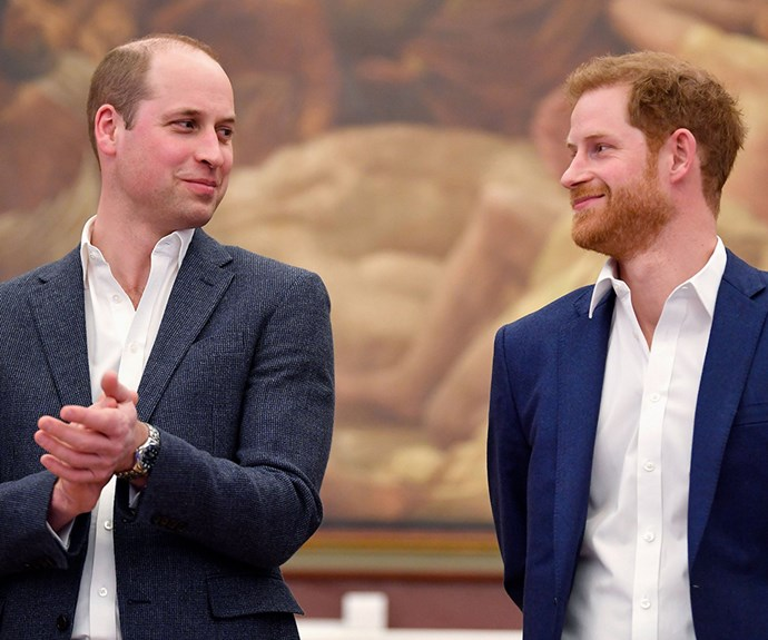 A knowing look. William and Harry at the opening of the Greenhouse Sports Centre in central London, 2018.