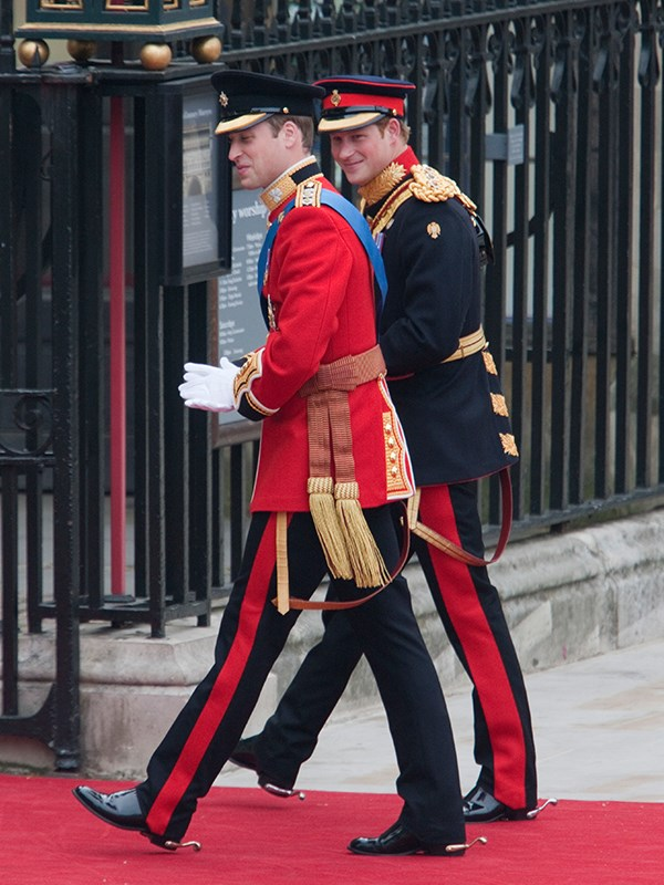 Prince Harry and Prince William arrive at Westminster Abbey at the Royal Wedding in London, 2011.