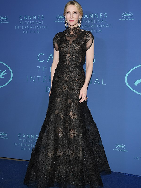 Showing her support of sustainability, jury president Cate Blanchett arrives at a festival gala in the same Armani Privé gown she wore to The Golden Globes in 2014.