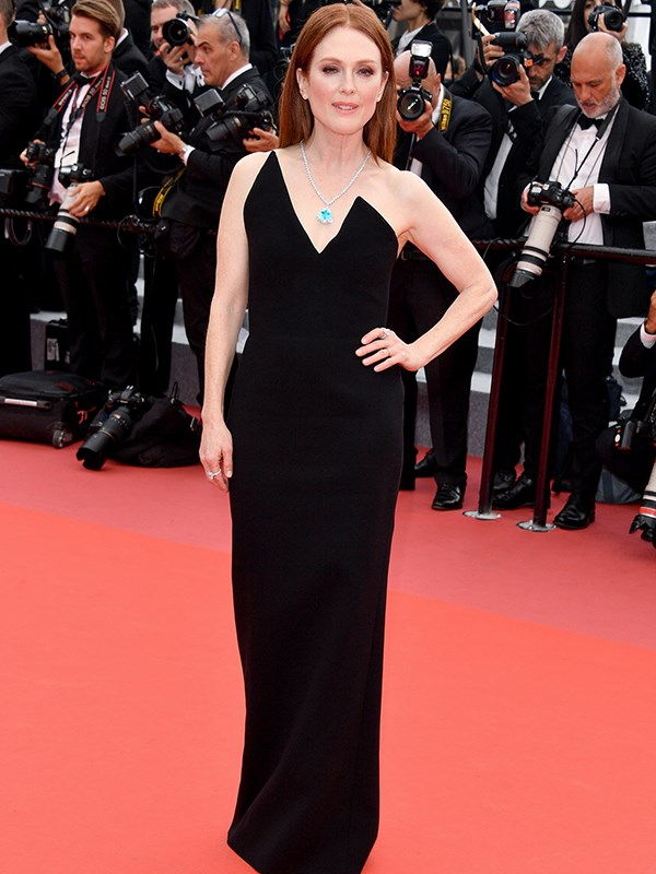 Actress Julianne Moore, 57, stuns in a the screening of *Yomeddine* in a classic black dress.