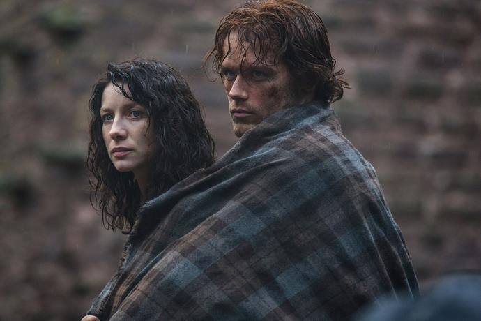 Caitriona and Sam in *Outlander* Season one.
