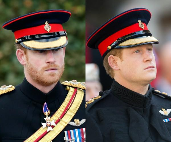 Harry is pictured s pictured with facial hair in November 2016 and without at the same Armistice Day event in 2014.