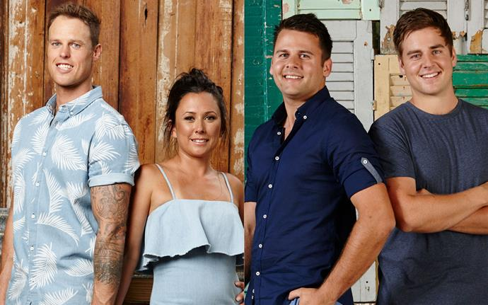 Victorian couple Leigh and Kristie (left), have been accused of cheating by Queensland brothers Josh and Brandon.