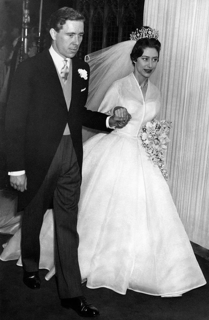 Princess Margaret's wedding dress was made of silk organza and designed by Norman Hartnell. Image: Getty