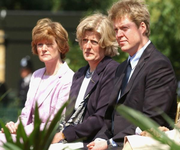 All three of the late Princess' siblings were invited to the wedding: Charles, 9th Earl Spencer (R), Lady Jane Fellowes (C) and Lady Sarah McCorquodale (L).