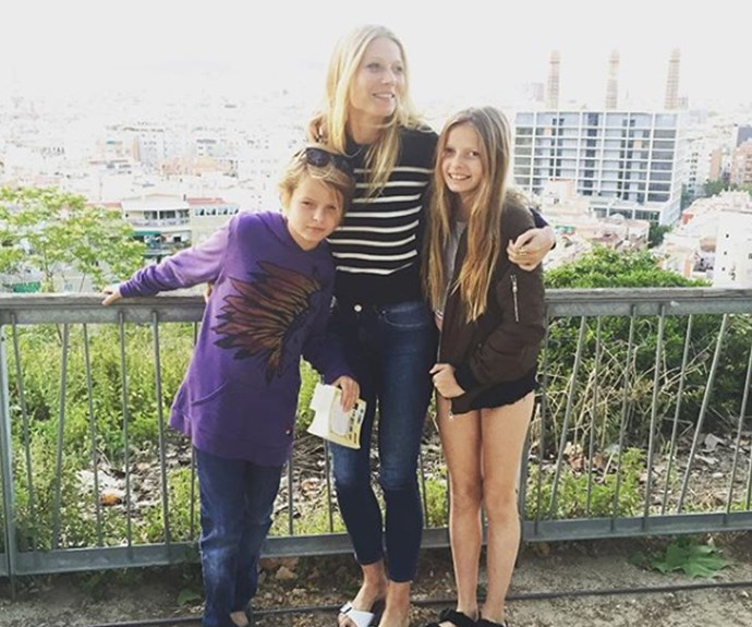 Gwyneth with her son Moses and a long-locked Apple in 2016.