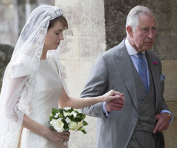 Prince Charles gives away his goddaughter Alexandra Knatchbull at her wedding in 2016.