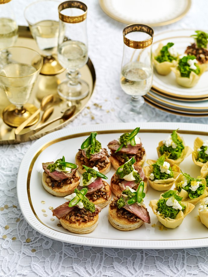BEEF WELLINGTON BITES WITH SALSA VERDE
