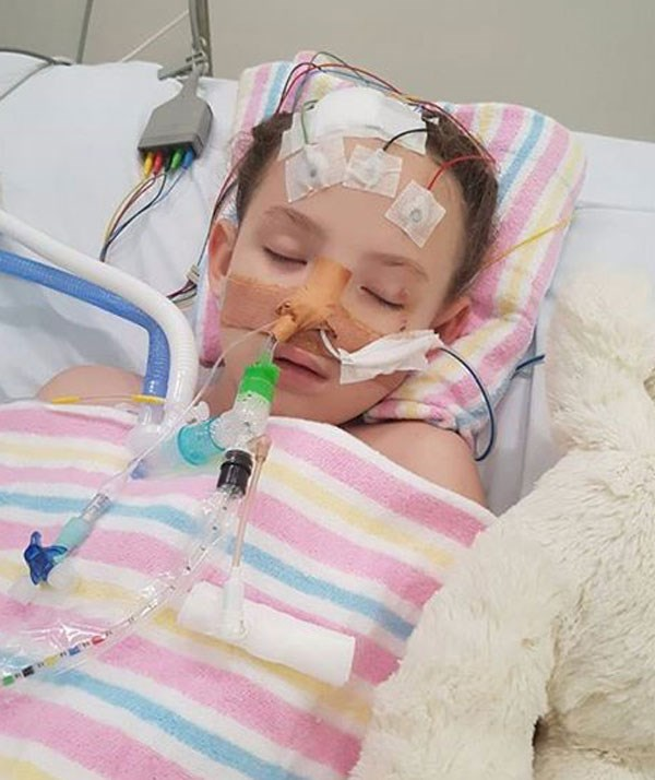 Medical miracle: Mackinlee was in hospital for more than five months with doctors saying she would never walk or talk again. *Source: GoFundMe*