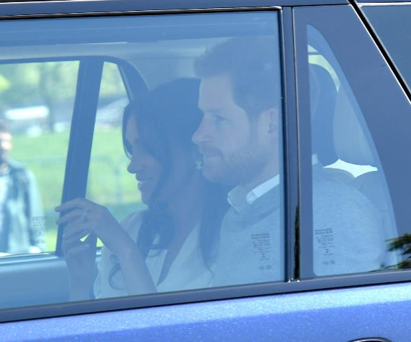 Harry, 33, and Meghan, 36, arrive in Windsor to rehearse for their big day.