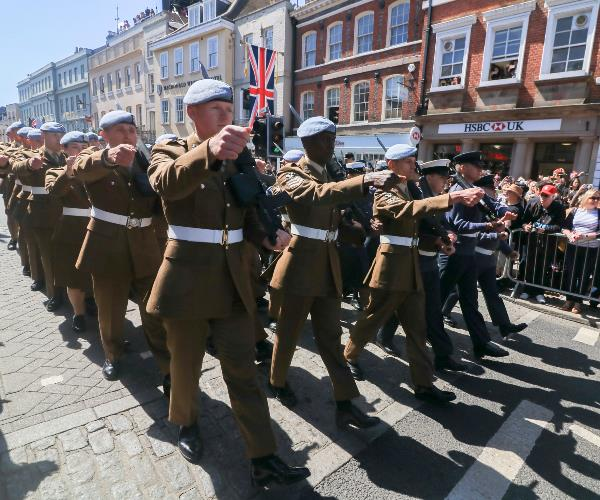 Members of the Armed Forces were among those taking part in a dress rehearsal of the Carriage procession through Windsor Town and The Long Walk.