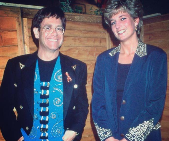 Elton John with Princess Diana.