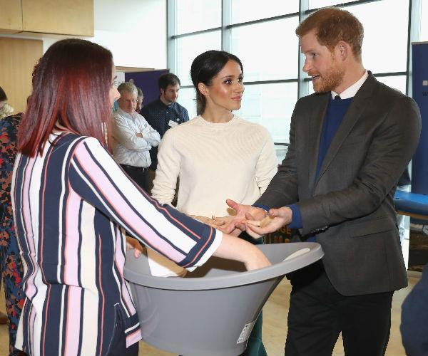 During a royal engagement in Belfast, Prince Harry and Meghan Markle took a look at a line of baby products. Reckon they made an order?