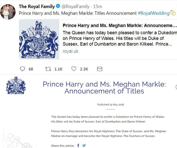 As announced by the Palace!