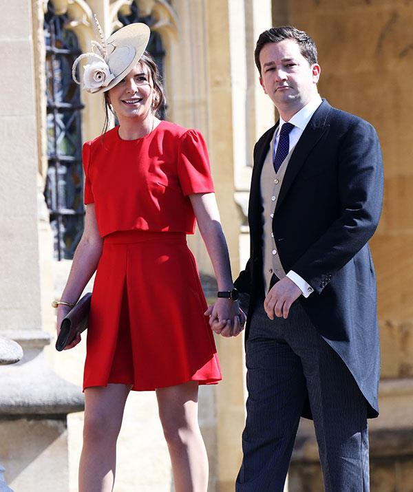 Kate's former private secretary Rebecca Deacon looks beautiful in red.