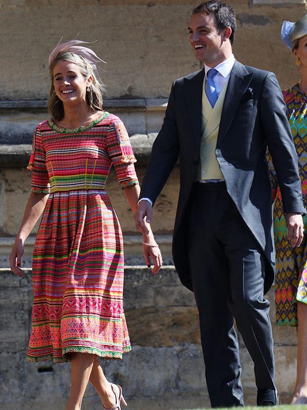 Prince Harry's ex Cressida Bonas arrives to celebrate the Prince's marriage to Meghan Markle.