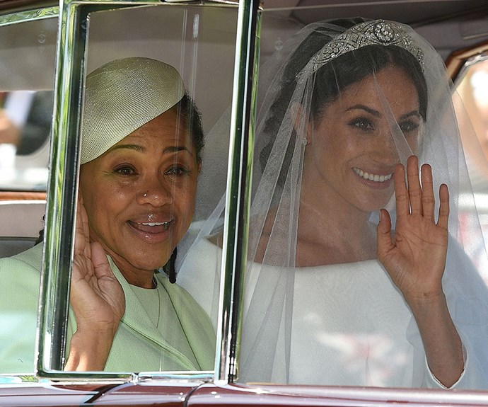Meanwhile Meghan was making her way to the chapel with her mother Doria.
