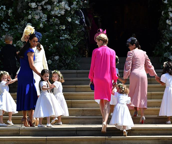 The adorable bridesmaids arrive with their mothers.
