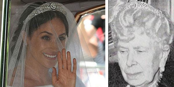 Queen Mary and Meghan Markle wearing the Diamond Bandeau tiara.