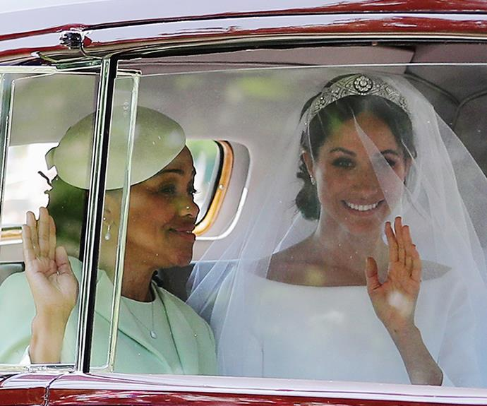In a royal wedding first, Meghan was accompanied by her mother on the way to her wedding.