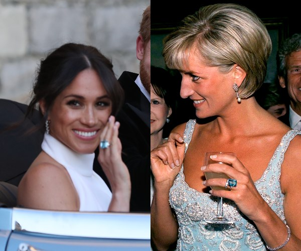 Meghan dipped into her late mother-in-law's jewellery collection to find her something blue and her something borrowed.