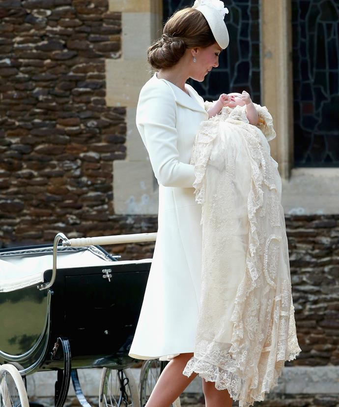 "Wearing the stylish Alexander McQueen cream coat for the first time, the Duchess carries baby Charlotte [to her christening](https://www.nowtolove.com.au/royals/british-royal-family/princess-charlottes-christening-portraits-released-2530|target=""_blank"") at the church of St Mary Magdalene on the Sandringham Estate in July, 2015."