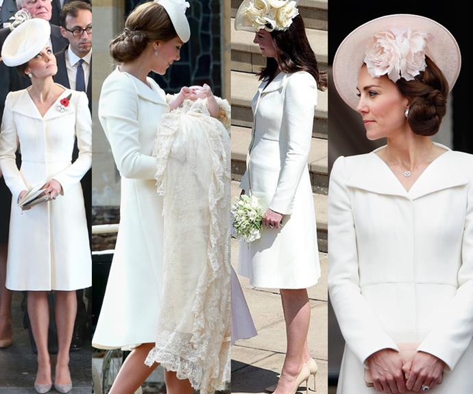 Duchess Catherine proves she's a supporter of sustainable fashion as she re-wears Alexander McQueen coat-dress to Harry and Meghan's wedding.