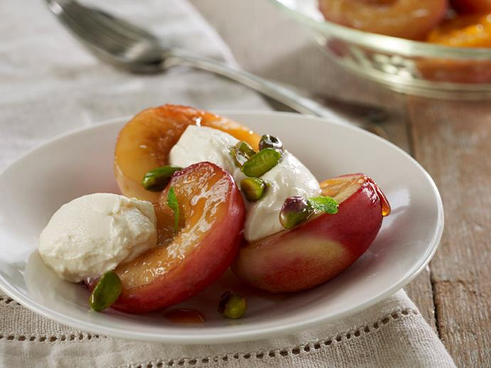 """**[Nectarines with labne, pistachios & mint](http://www.foodtolove.com.au/recipes/nectarines-with-labne-pistachios-and-mint-34803
