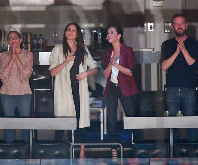 Meghan and her mother Doria (left), Jessica Mulroney and another friend of Meghan's Markus Anderson, at the closing ceremony of the Invictus Games in Toronto, 2017.