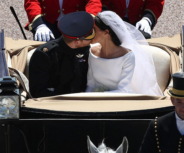 The now iconic photo of the Duke and Duchess of Sussex on their special day.