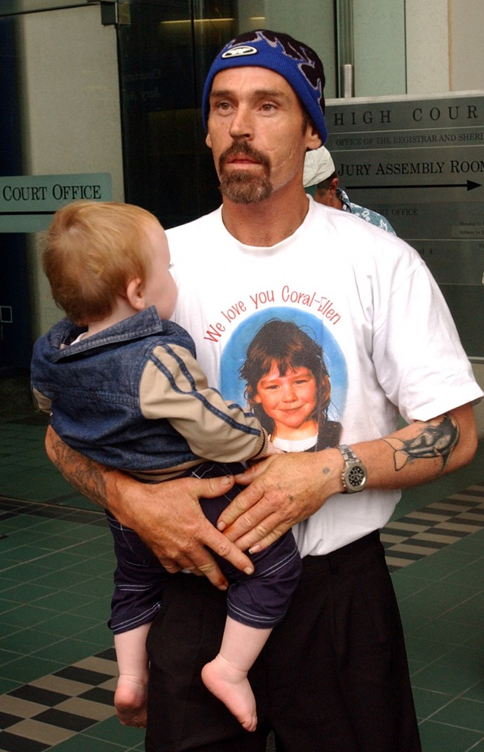 Ron with his son, leaving court in 2003