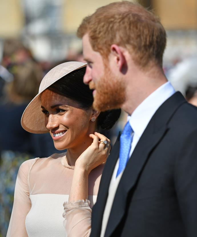 The newlyweds! The new Duke and Duchess of Sussex just made their first official appearance as man and wife at a sun-filled garden party at Buckingham Palace.