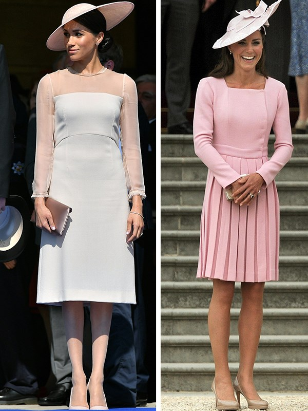 Meghan steps out to her first Garden Party in a similar outfit Kate wore to her first Garden Party.