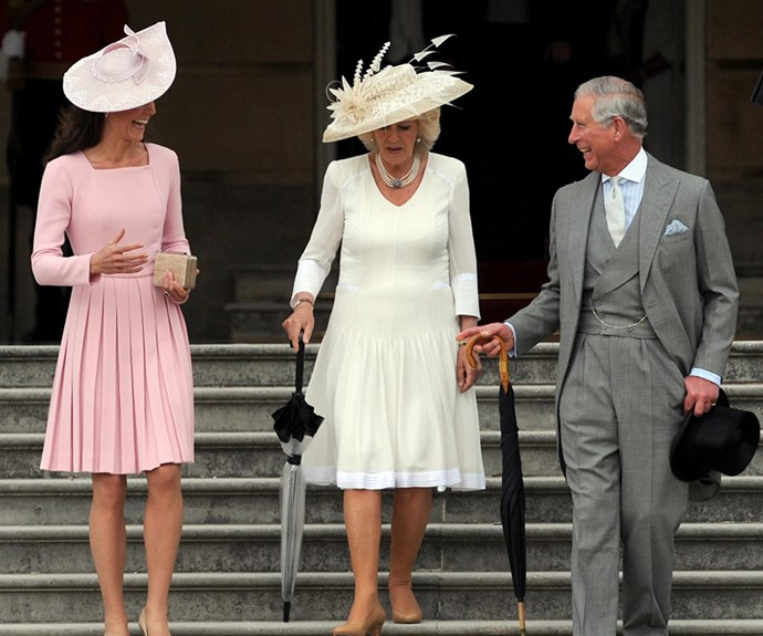 Duchess Kate, Camilla and Prince Charles at newlywed Kate's first Garden Party in 2012.