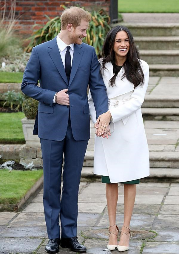 Meghan bared her legs for her official engagement photo call with Prince Harry.